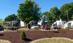 RV's parked at mobile home camp sites at Hotel RV